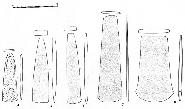 Fig. 2.4-6. From Sohr Damb. 2.7-8 from Mohenjo daro. - 2.4 Palstaves A 9782.- 2.5 NM 2614.- 2.6 NM 2616.- 2.7 & 2.8 Mohenjo daro Museum, no inv. nos.