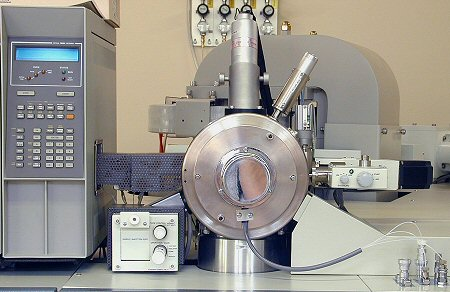 Ion source region of OL JMS-700 magnetic sector mass spectrometer