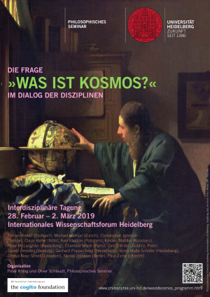 """Plakat: Die Frage """"Was ist Kosmos?"""" im Dialog der Disziplinen"""