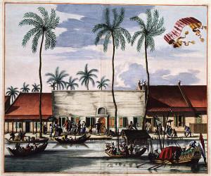 Jacob van Meurs, Spinnhaus für alleinstehende Frauen in Batavia (Jakarta), 1682