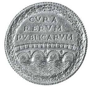 Medaille auf die Grundsteinlegung des Ponte Sisto in Rom, 1475