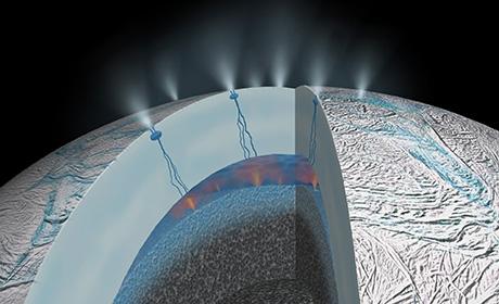 Künstlerische Darstellung des Inneren des Saturnmondes Enceladus