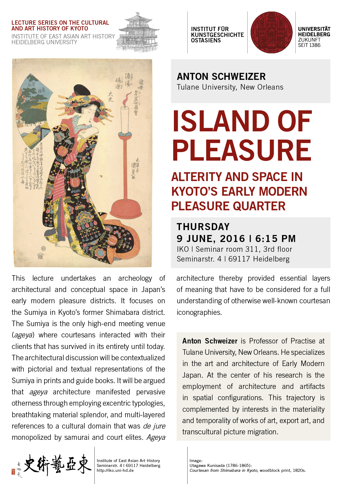 9 June, 2016 | Anton Schweizer: Island of Pleasure – Alterity and Space in Kyoto's Early Modern Pleasure Quarter