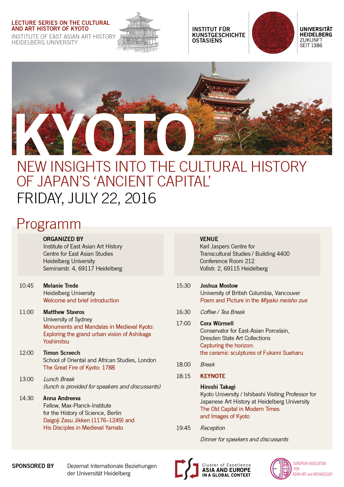 22 July, 2016 | Kyoto: New Insights into the Cultural History of Japan's 'ancient capital'