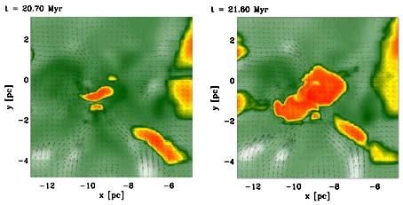 Die Entstehung eines protostellaren Kerns in numerischer Simulationsrechnung (Computersimulation ZAH/ITA, Banerjee et al. 2009)